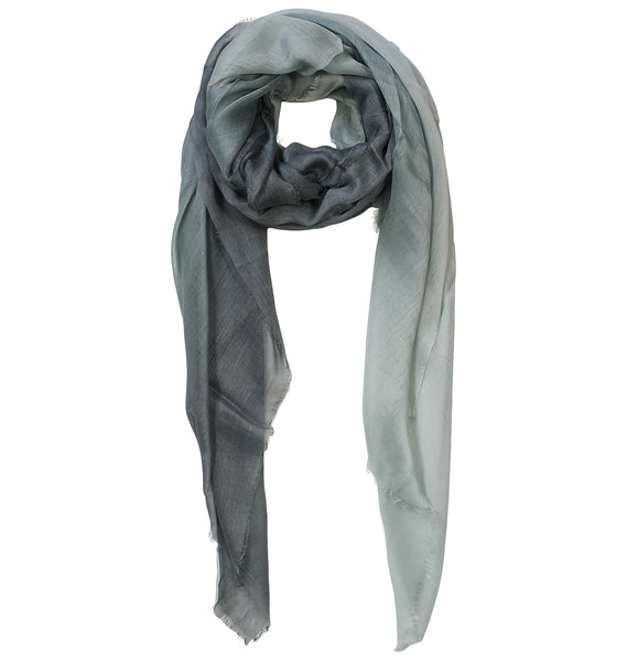 Blue Pacific Dream Cashmere and Silk Scarf in Platinum Gray