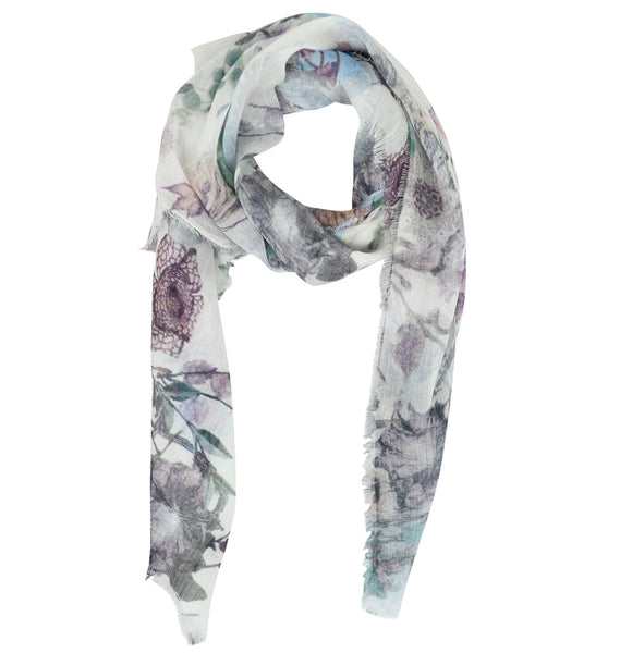 Blue Pacific Floral Micromodal and Silk Neckerchief Scarf in Cloud