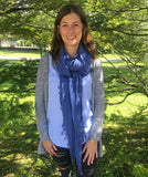 Model Wearing Blue Pacific Tissue Cashmere and Silk Scarf in Denim Blue