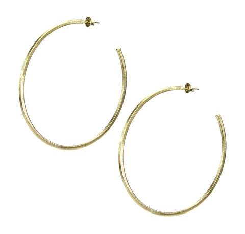 Sheila Fajl 2.75 Inch Niky Hoop Earrings in Gold Plated