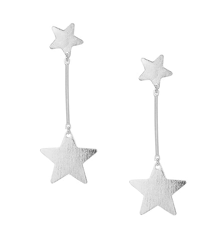 Sheila Fajl Vela Statement Dangle Star Earrings in Silver Plated