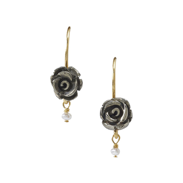 Chan Luu Petite Dangle Rose Flower Charm in Gray Pyrite and Gold Vermeil