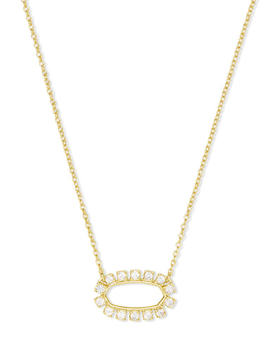 Kendra Scott Elisa Oval Open Frame Necklace in CZ and Gold Plated