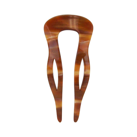 France Luxe New Classic Curved Chignon Hair Comb in Caramel Horn
