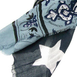 Blue Pacific Micromodal Antique Flag Scarf in Black and White