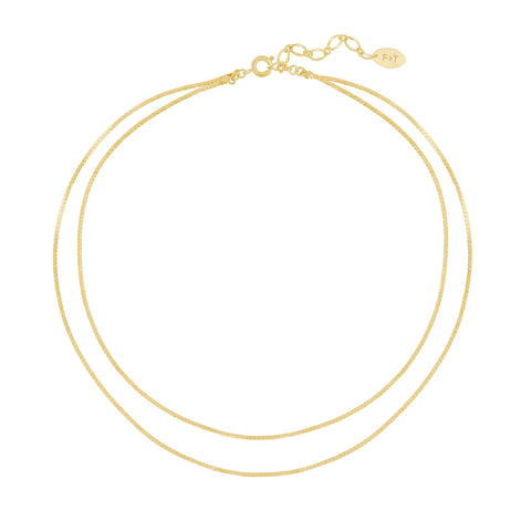 Five and Two Gianna Double Chain Layering Necklace in Gold Plated