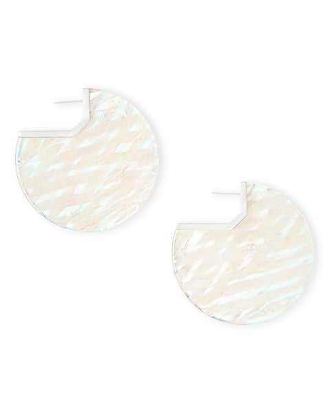 Pair of Kendra Scott Kai Statement Disc Earrings in Iridescent Acetate and Silver
