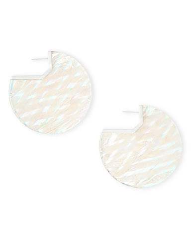 Kendra Scott Kai Statement Disc Earrings in Iridescent Acetate and Silver