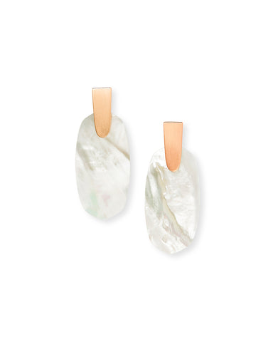 Kendra Scott Aragon Oval Dangle Earrings in Ivory and Rose Gold