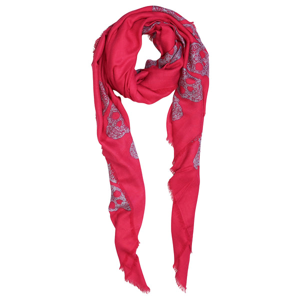 Blue Pacific Frida Skull Bordered Modal and Cashmere Scarf Shawl in Cherry Pink