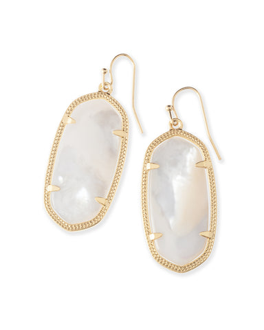 Kendra Scott Elle Oval Dangle Earrings in Ivory Pearl and Gold