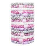 image of stacked L. Erickson Grab and Go Pony Tube Hair Ties in Princess 15 Pack