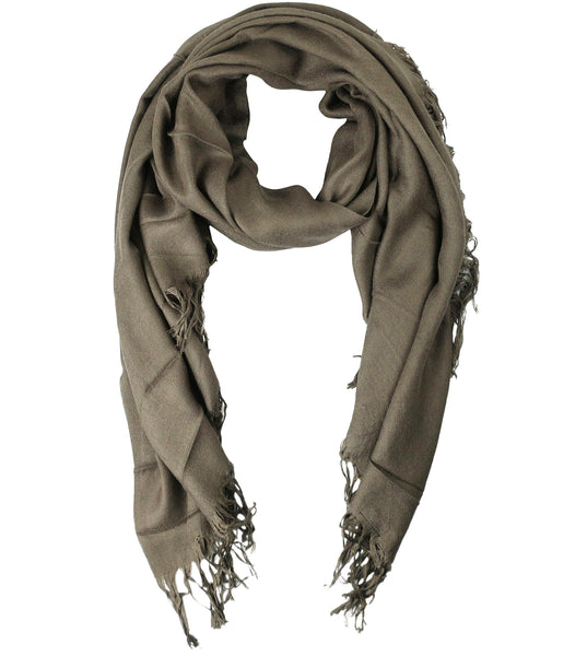 Blue Pacific Tissue Solid Modal and Cashmere Scarf Shawl in Walnut