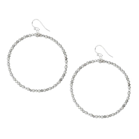 Chan Luu Silver Hoop Earrings in Grey Beads and Crystals