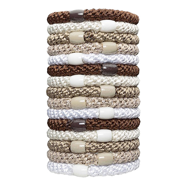 L. Erickson Grab and Go Pony Tube Hair Ties Gold Metallic Mix 15 Pack