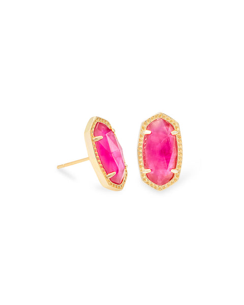 Pair of Kendra Scott Ellie Oval Stud Earrings in Azalea Illusion and Gold