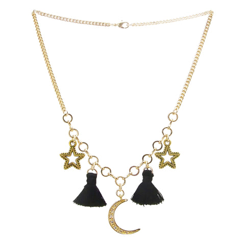 Yunis K Moon Stars and Tassel Necklace in Black and Gold Plated