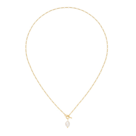 Five and Two Rumer Pearl Charm Toggle Pendant Necklace in Gold Plated