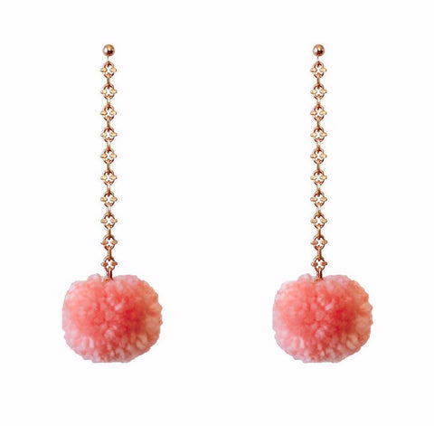 Yunis K Endless Summer Pom Pom Dangle Earrings in Gold and Blush