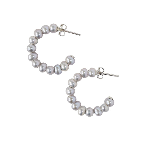 Chan Luu Small Holly Hoop Earrings in Grey Pearl and Sterling Silver