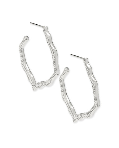 Kendra Scott Miku Abstract Hoop Earrings in Rhodium Plated