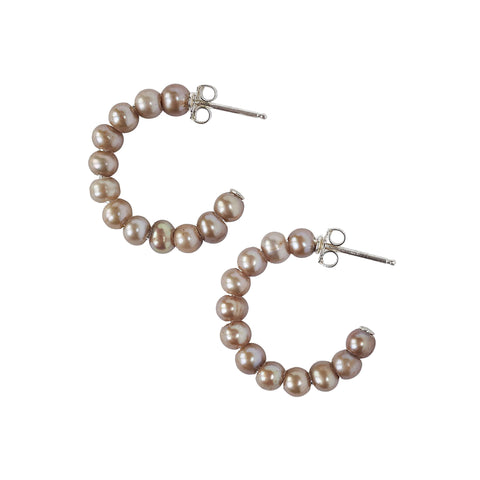 Chan Luu Small Holly Hoop Earrings in Taupe Pearl and Sterling Silver