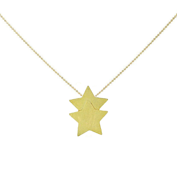 Detail Shot of Sheila Fajl Castor Double Star Pendant Necklace in Gold Plated