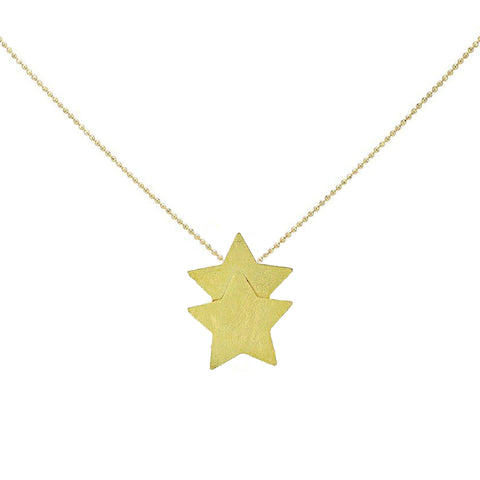 Sheila Fajl Castor Double Star Pendant Necklace in Gold Plated