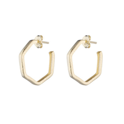 Sheila Fajl Petite Pentagon Lure Hoop Earrings in Brushed Gold Plated