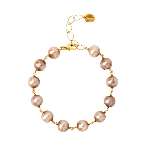 Chan Luu Chain Freshwater Pearl Bracelet in Dark Champagne and Gold