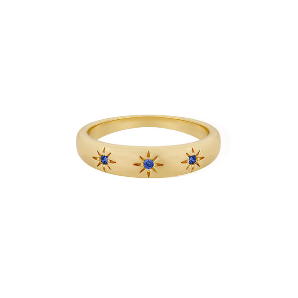 Five and Two Daphne Star Trio Stacking Ring in Blue CZ and Gold Size 7