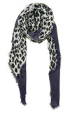 Blue Pacific Animal Print Cashmere Silk Scarf in Grey and Snow 78 x 22