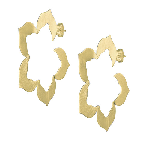 Sheila Fajl Flora Flower Inspired Hoop Earrings in Brushed Gold Plated