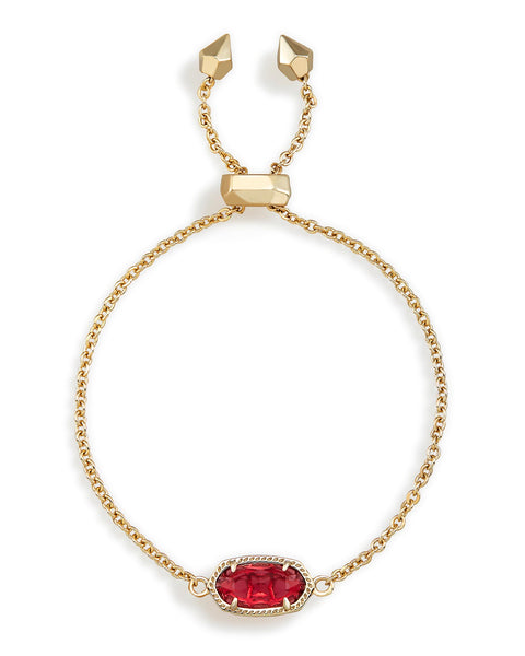 Full View of Kendra Scott Elaina Chain Bracelet in Berry Clear and Gold Plated