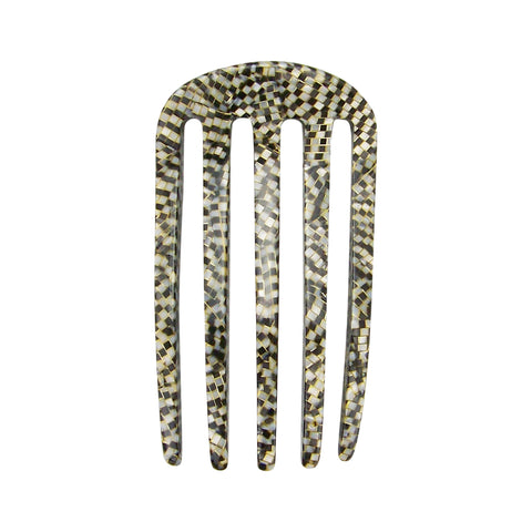 France Luxe Classic Five Tooth Chignon Hair Comb in Opera Silver