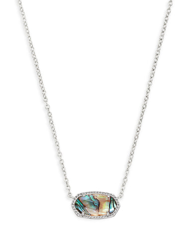 Kendra Scott Elisa Oval Pendant Necklace in Abalone and Rhodium Plated
