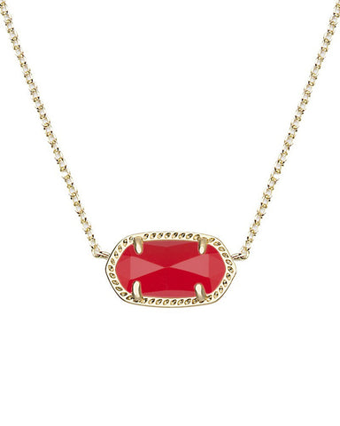 Kendra Scott Elisa Oval Pendant Necklace in Bright Red Glass and Gold