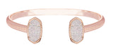 Kendra Scott Elton Oval Bangle Bracelet in Iridescent Drusy and Rose Gold