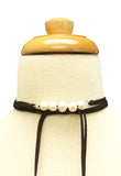 InStyle 73 Inch Lariat Choker Necklace in Pearl and Black Suede