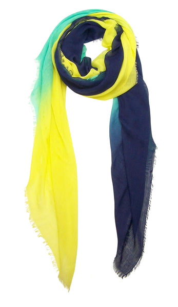 Primary Rolled Blue Pacific Dream Cashmere and Silk Scarf in Navy Bright Turquoise Yellow