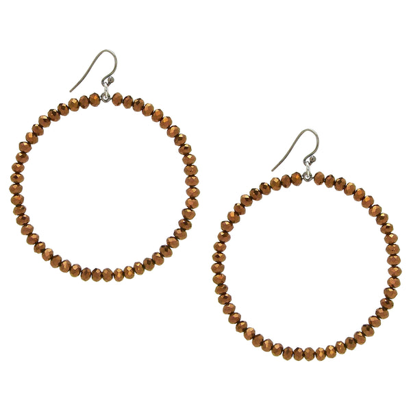 Chan Luu Silver Hoop Earrings in Bronze Crystals