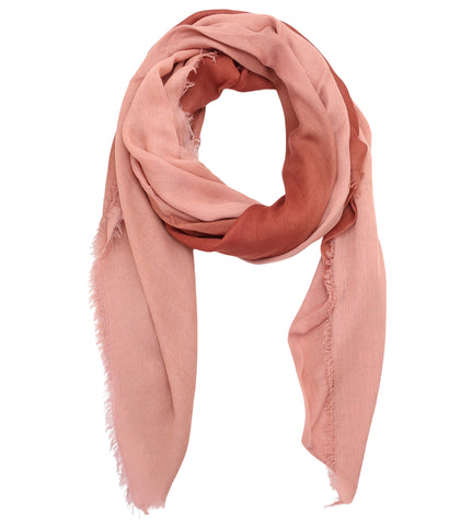 Blue Pacific Dream Cashmere and Silk Scarf in Dusty Rose and Rust