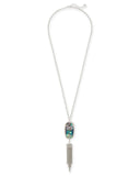 "Kendra Scott Rayne 30"" Tassel Pendant Necklace in Abalone and Rhodium"