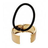 image of L. Erickson Gold Brushed Metal Pony Cuff Hair Tie open