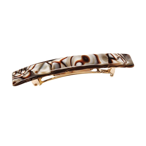 France Luxe Small Luxury Rectangle Barrette in Onyx Swirl
