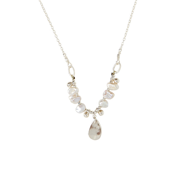 Chan Luu Tiara Pearl Pendant Necklace in Light Grey Pearl and Silver