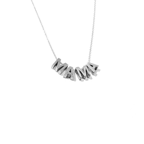 Larissa Loden MAMA Lettered Pendant Necklace in Rhodium and Sterling Silver Plated