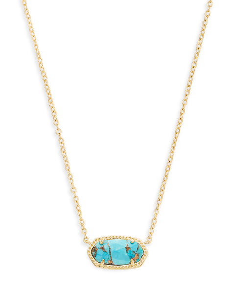Kendra Scott Elisa Oval Pendant Necklace in Bronze Turquoise and Gold