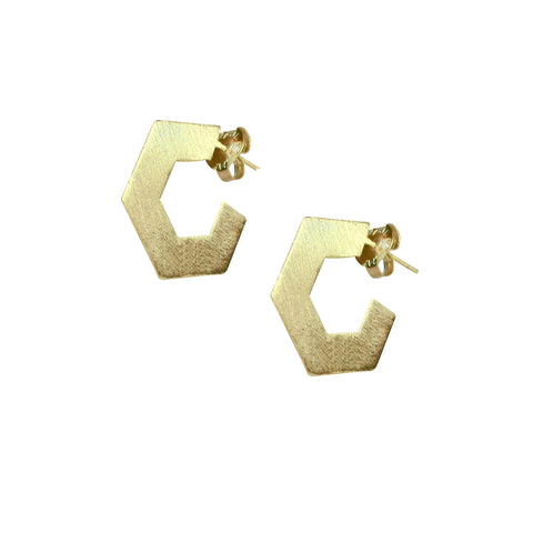Sheila Fajl Small Burke Pentagon Hoop Earrings in Brushed Gold Plated
