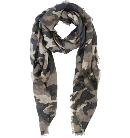 Blue Pacific Cashmere and Modal Scarf in Desert Taupe Camouflage